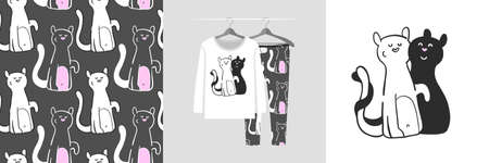 Seamless pattern and illustration with couple of cats in love - black and white. Cute design pajamas on the hanger. Baby background for clothes, room birthday decor, fashion tee print, wrapping Vector Illustration