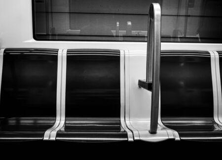Underground interior black and white seats