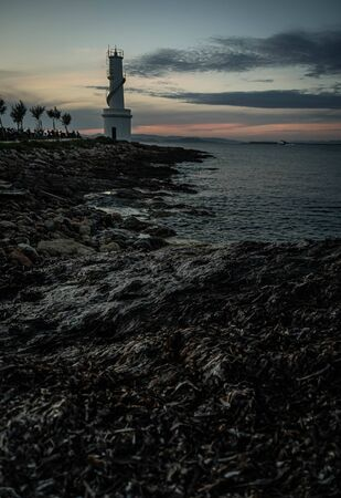 Lighthouse at the sunset. Blue hour.