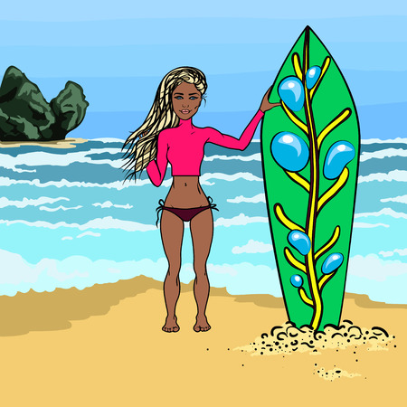 surf girl: The girl in the summer on the beach. Surf. Cartoon surfer girl. Catch the wave