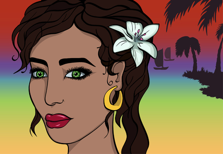 to sunbathe: Cartoon Asian Girl on Sunset Beach. Flower in Hair. Tropical
