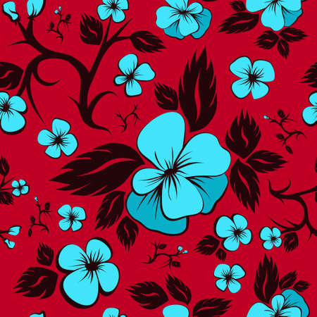 azure: Bright floral seamless pattern. Blue and red. Azure flowers. Floral Fabric