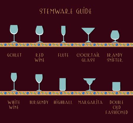 stemware: Guide glasses. Stemware guide. Glass set Illustration