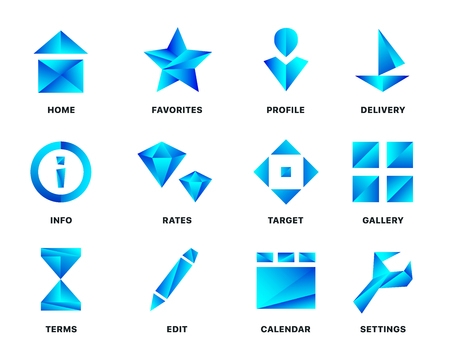 Blue gradient icon set isolated on white background. Vector illustration