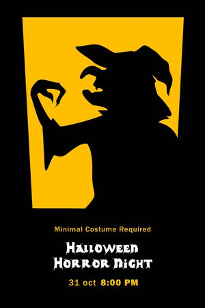 Silhouette of evil witch grimalkin hag in window halloween horror night poster Vector illustration