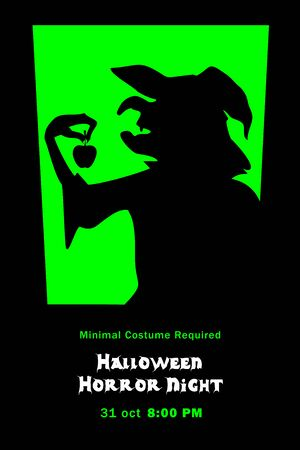 Silhouette of evil witch grimalkin with apple in window halloween horror night poster Vector illustration