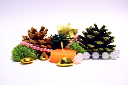 Christmas composition - cones, jungle bells,noss and candle Stock Photo - 668169