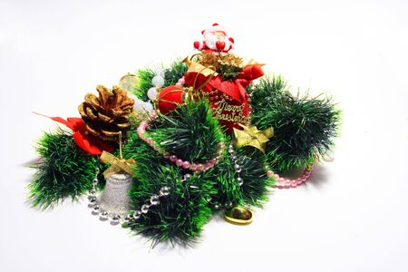 pere noel: Christmas composition - cones, jungle bells,noss and candle
