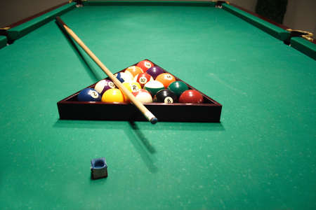 Billiards table with a balls
