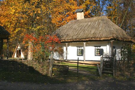 Autumn Landscape, beautiful vivid nature - country ancient house