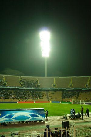 Football. Champions league stars lights on stadium Stock Photo