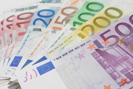 Fan from the Euro banknotes - background, texture Stock Photo