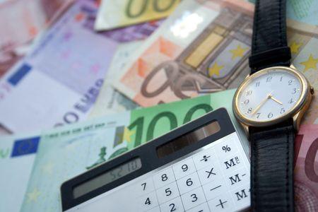Le Bisinessman gadgets: calculatrice, le temps et l'argent
