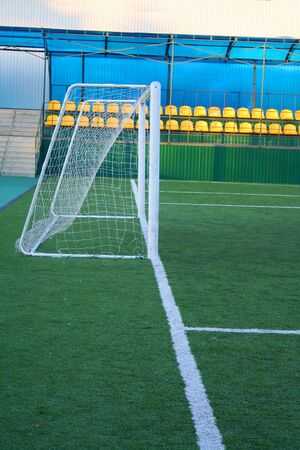 artifical: Gates. Stadium. Football field with the artifical grass Stock Photo