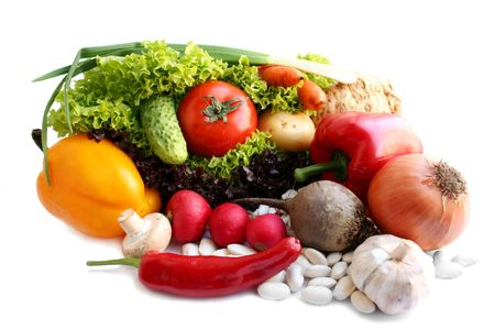 vitamines: Still life - vegetables over the white background