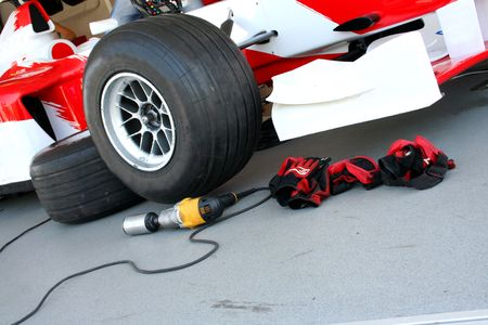 Formula-1 racing pit-stop devices Stock Photo