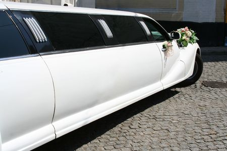 Beautiful car - Just Married limousine Stock Photo