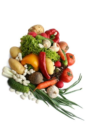 vitamines: Vegetables. Still life, isolated over the white