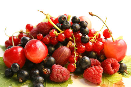 Forest berries on the leaves. Lunch of the Elf. Still life