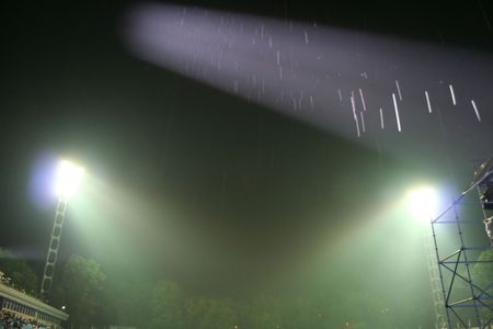 Stage lights lighting the rain. On the show Stock Photo