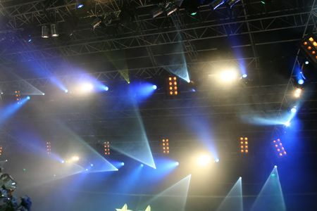 Multicolored Stage lights. On the show Stock Photo