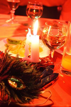 Table at the Christmas party. New year eve.