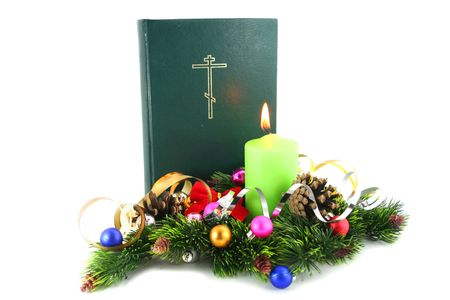 Christmas Time ! Bible with the xmas decorations.
