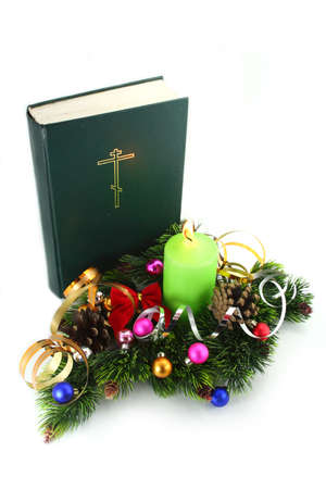 pere noel: Christmas Time ! Bible with the xmas decorations.