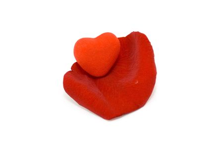 voluptuous: Valentine heart on the red rose petal