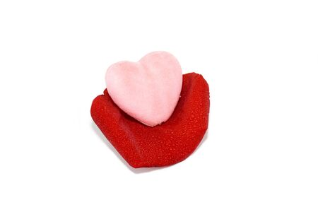 voluptuous: Pink Heart over the red rose petal. Saint Valentine day topic. Still life
