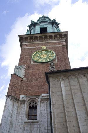 Clock on the Chapel in Wawel Castle. Krakow. Poland. Medieval history memorial Stock Photo