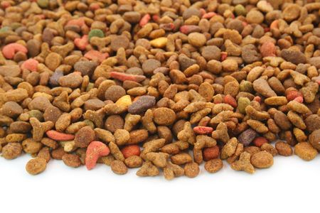 Pets food (cat, dog, etc.) over the white background Stock Photo