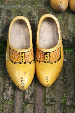 klompen: Colored Duch wooden shoes - clogs