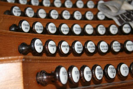Organ toolkit close-up. Full Orchestra in one instrument Stock Photo