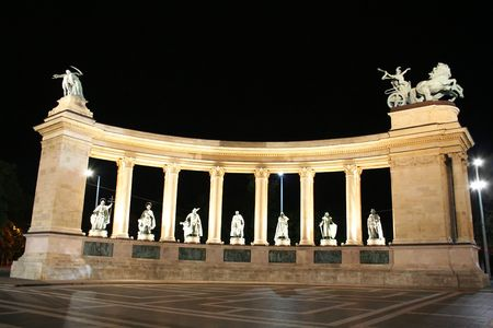 Heroes square in night, Hungary, Budapest