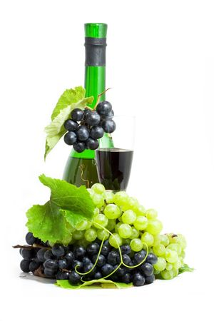 Vine Still life composition - grape with the glass of wine
