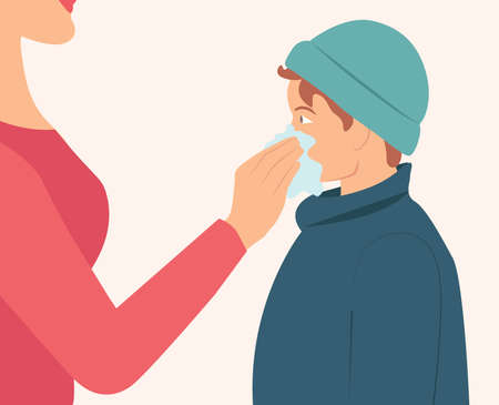 Mom wipes her son's nose with a napkin isolated flat vector illustration. Boy get sick sneezing from flu and mother helping her son. Women use tissue to clean her son's nose while boy sneezing Vector Illustratie