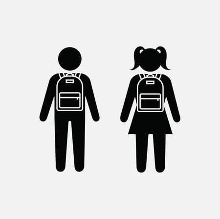 School children icon, classmates silhouette, school kids symbol. schoolboy and schoolgirl with backpacks. Pupils icon set. Classmates icon, vector illustration.