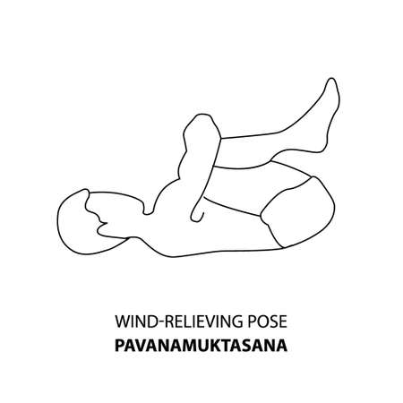 Man practicing yoga pose isolated outline Illustration. Man standing in wind-relieving pose or pavanamuktasana pose, Yoga Asana line icon 向量圖像