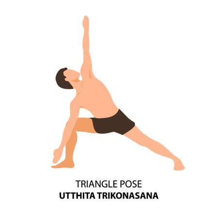 Man practicing yoga pose isolated Vector Illustration. Man standing in triangle pose or utthita trikonasana pose, Yoga Asana icon