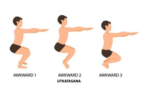 Awkward Poses Set. Man practicing yoga vector illustration. Man doing Awkward Yoga Pose or Utkatasana step by step hand drawing. yoga postures