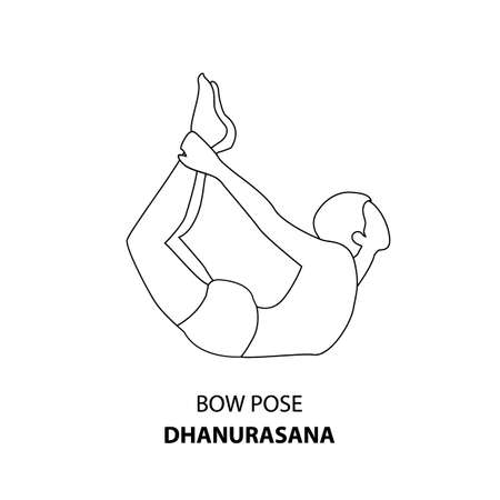Man practicing yoga pose isolated outline Illustration. Man standing in Bow Pose or Dhanurasana, Yoga Asana line icon 向量圖像