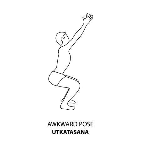 Man practicing yoga pose isolated outline Illustration. Man standing in Awkward Pose or Utkatasana pose, Yoga Asana line icon 向量圖像