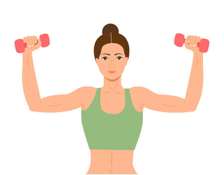 Woman doing fitness exercises. Pretty Fitness girl with dumbbells. Athletic woman holding dumbbells. Beautiful gym girl holing a dumbbell Vector illustration
