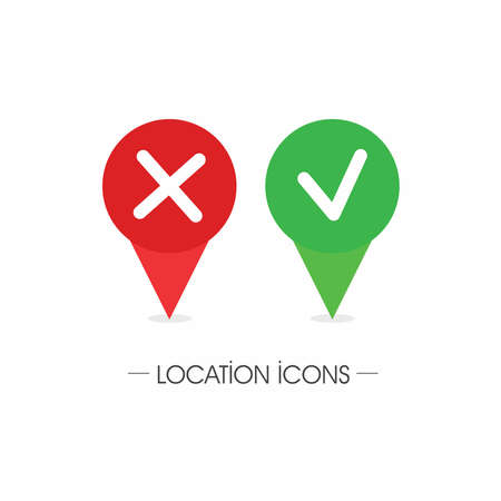 Address pin sign set, location symbol vector collection. Yes and No Icon with red and green color