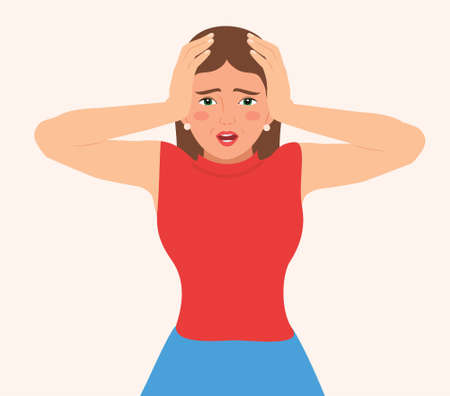 Young distraught woman screaming and keeps hands on head. Face expression with negative emotions. Insane woman shouting with open mouth in despair or she has a headache. isolated Vector illustration