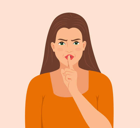 Beautiful young angry woman threatens with a raised index finger, isolated over background. Furious facial expression with hand gesture, isolated flat Vector illustration woman threatening with finger