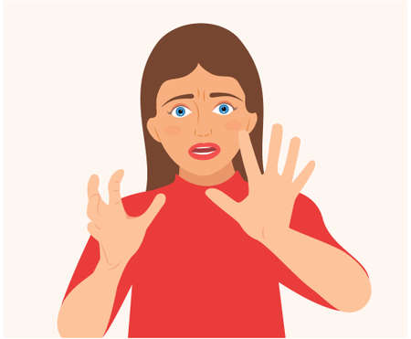 Screaming Woman Making Stop Gesture With Her Hands. Young woman shouting emotional with open mouth and eyes. Stressed Woman Hands Outstretched and Saying Stop. isolated flat design Vector illustration