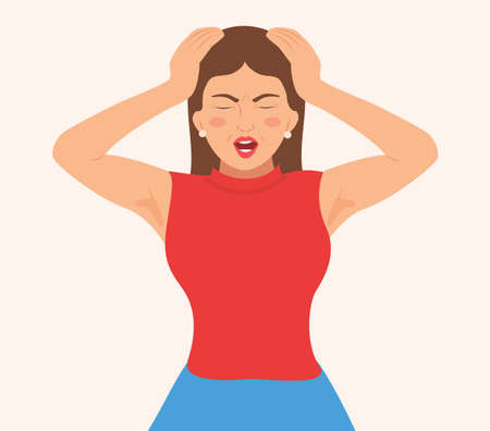 Young woman screaming and keeps hands on head. Face expression with negative emotions. Insane or annoyed woman shouting angrily with open mouth and closed eyes in despair. isolated Vector illustration