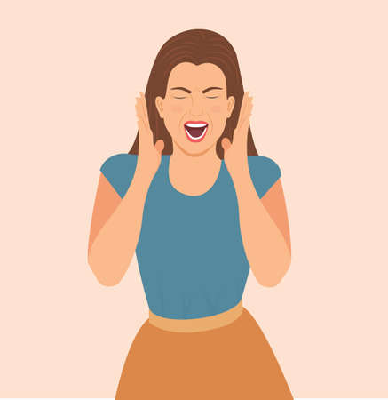 Young crazy woman screaming. Face expression with reaction and negative emotions. Insane or annoyed woman shouting emotional with open mouth and closed eyes in despair. isolated Vector illustration